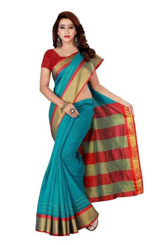 Glamorous Sky Cotton Blend Solid With Border Regular Saree