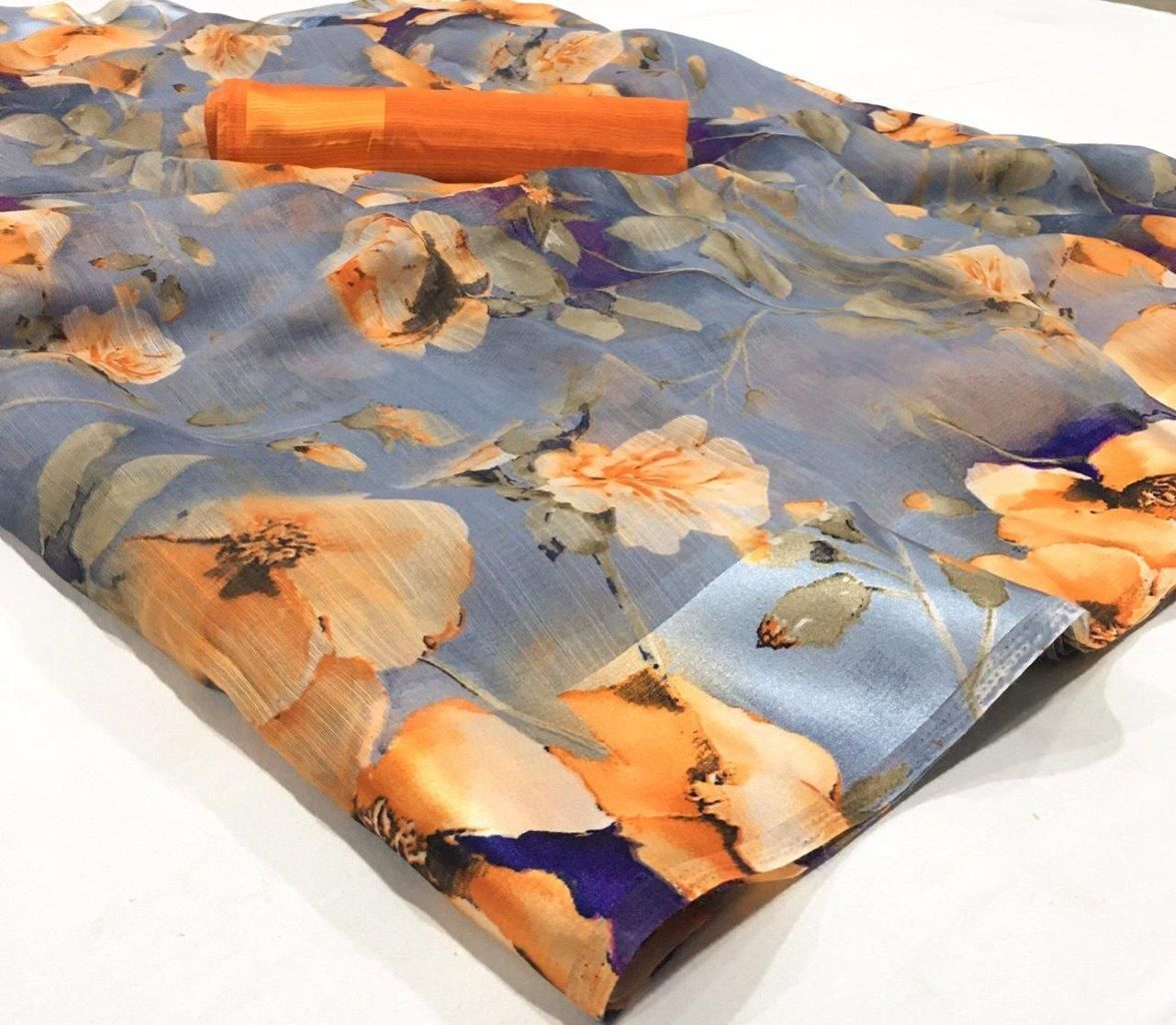 Gorgeous Linen Cotton Printed Regular Saree With Orange Blouse Piece