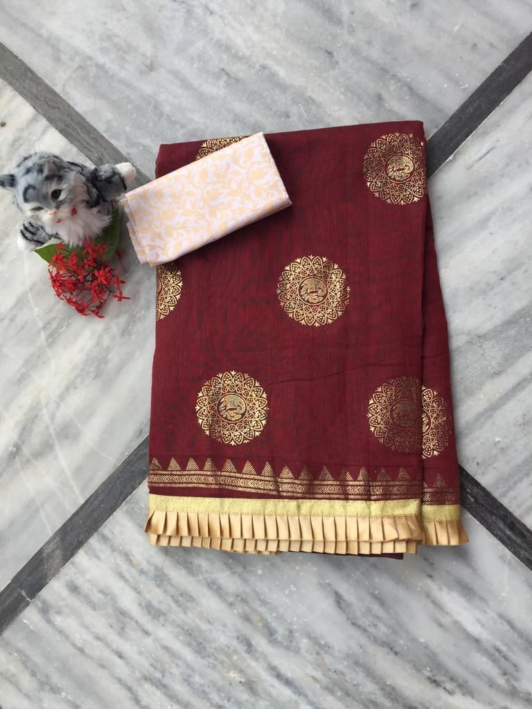 Adorable Brown Chanderi Cotton Jacquard Work With Contrast Colour Pleated Border Regular Sarees