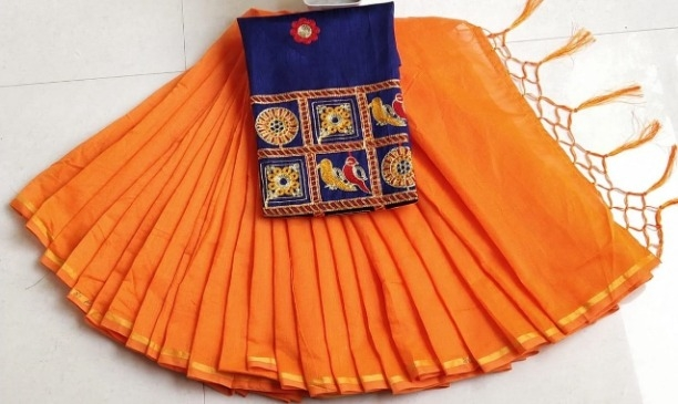 Lady's Trendy Chanderi Cotton Solid Saree With Blouse Piece