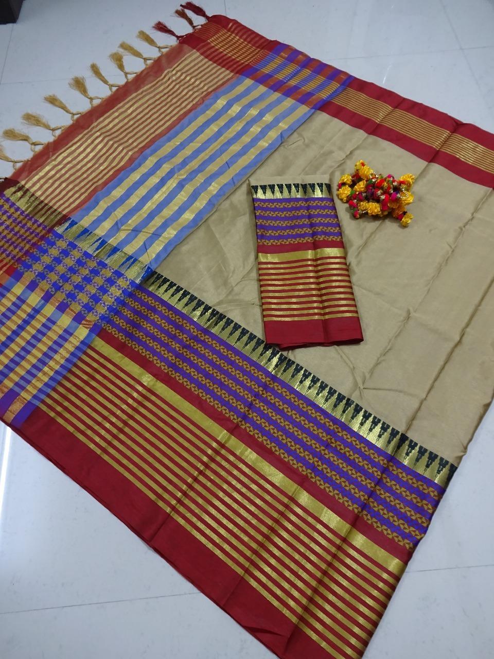 Gorgeous Cotton Silk Zari Weaving Regular Saree With Blouse Piece