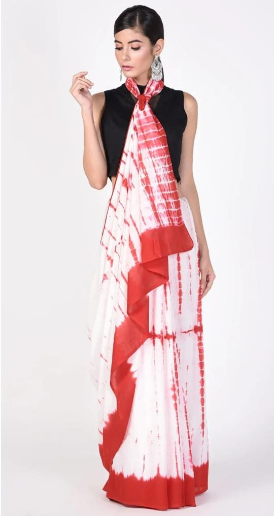 Precious Red & White Mulmul Cotton Printed Regular Saree