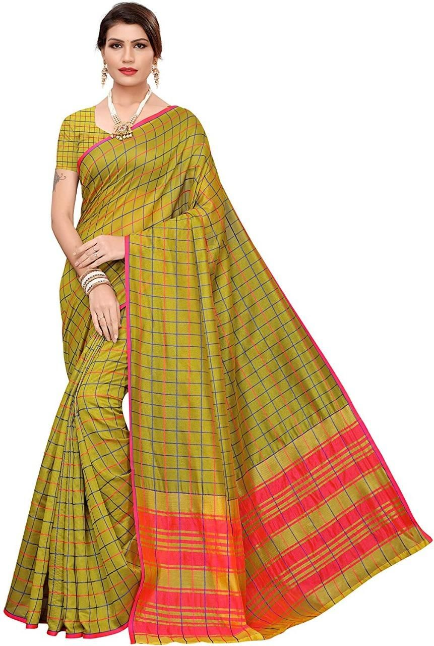 New Cotton Silk Checks Print Regular Saree