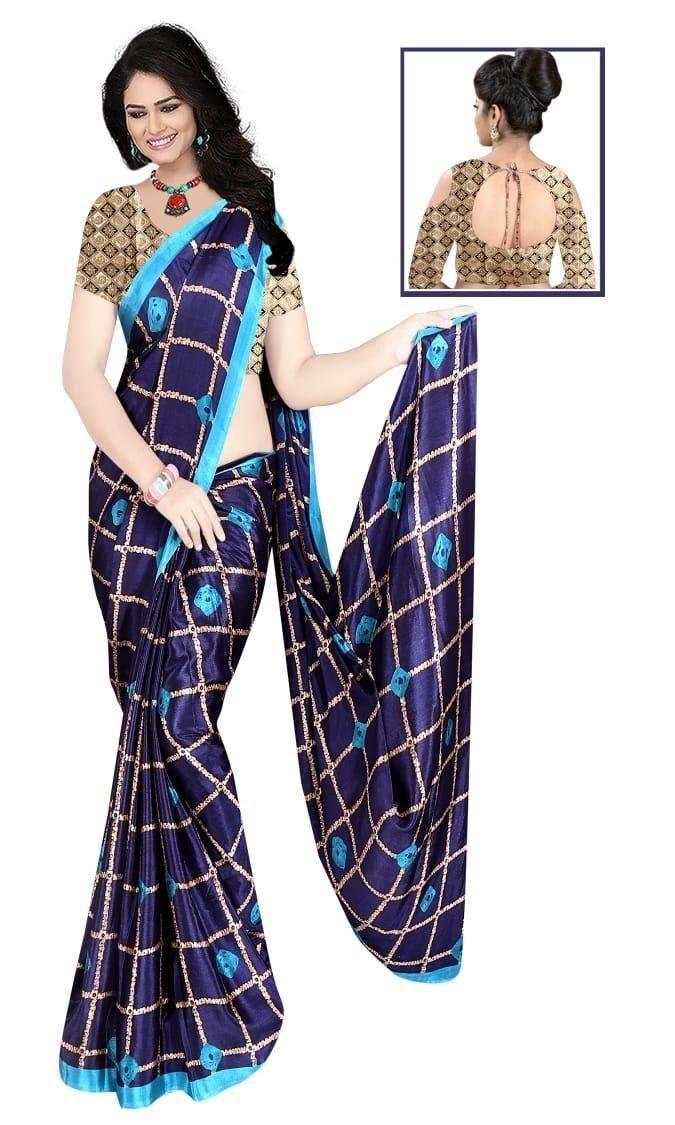 Glamorous Royal  Silk Checks Print Saree
