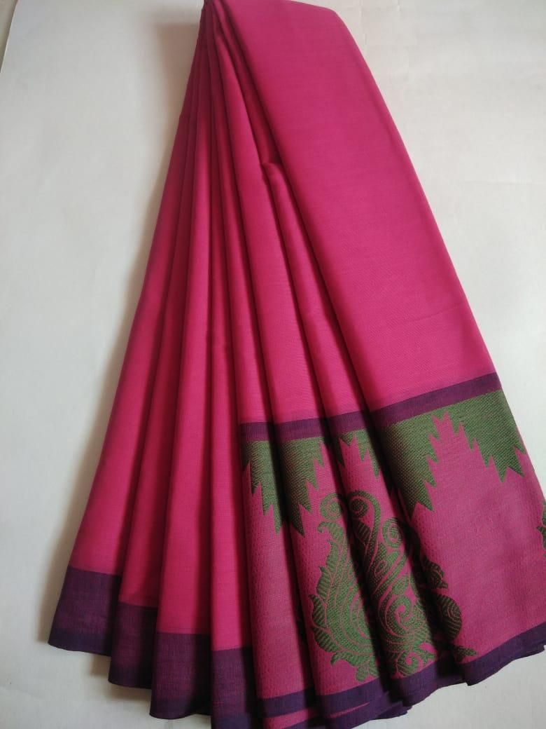 Women's Stunning Pink Cotton Solid With Border Saree