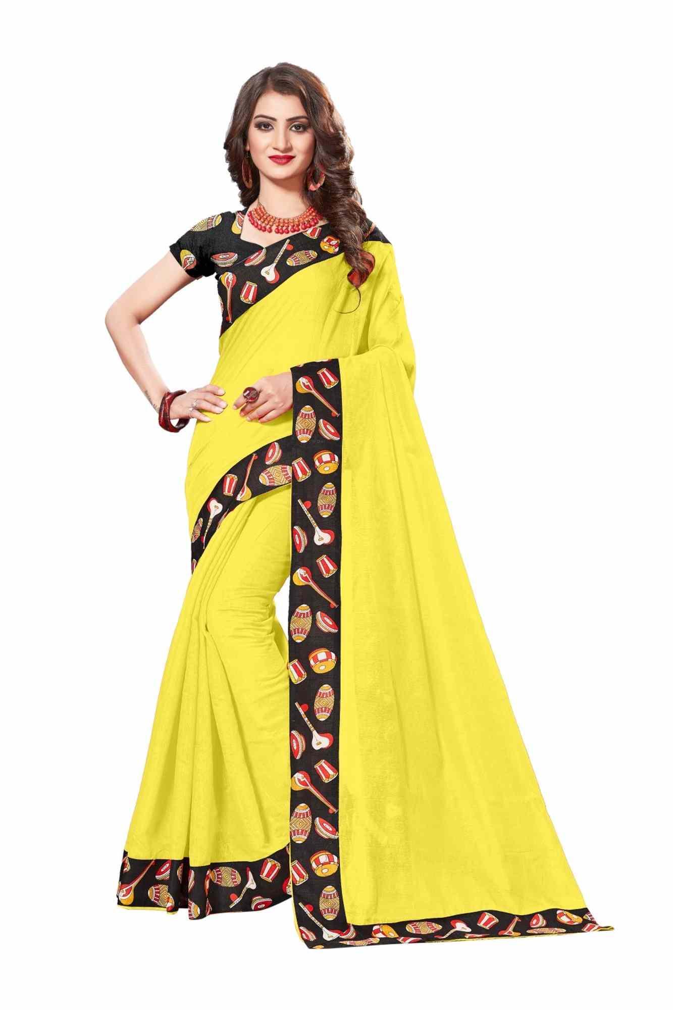 Women's Unique Chanderi Lace Border Regular Black Saree