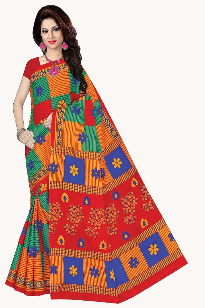 Regular Simple Yellow Red Cotton Floral Printed Saree