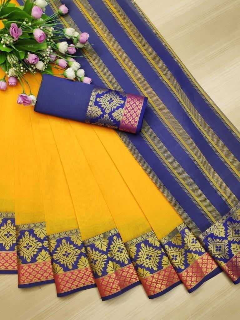 Women's Parrot Cotton Solid With Zari Blue Border Regular Saree