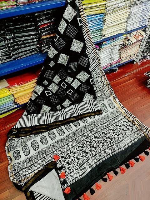 Elegant Cotton Black Zari Border and Jhalar Regular Saree