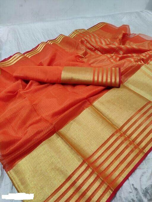 Unique Orange Cotton Solid With Border Saree