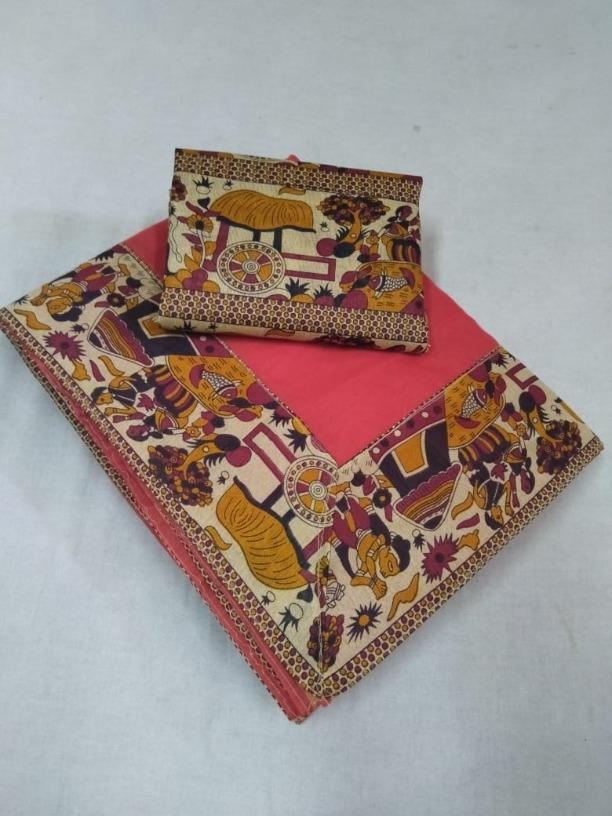 Women's Latest Pink Chanderi Cotton Lace Border Regular Saree
