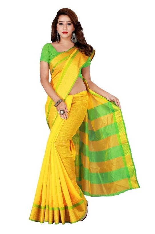 Glamorous Yellow Cotton Blend Solid With Border Regular Saree