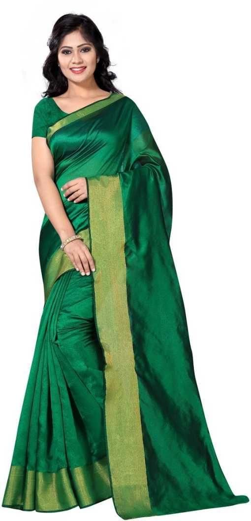 Authentic Green Poly Cotton Solid With Border Saree