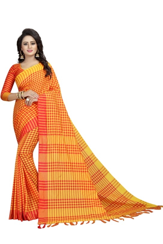 Women's Yellow Cotton Silk Saree With Blouse Piece