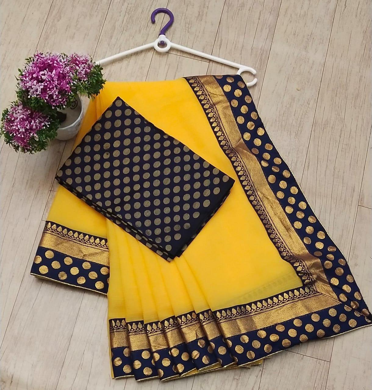 Latest Yellow Chanderi Cotton Solid with Zari Border Work Saree