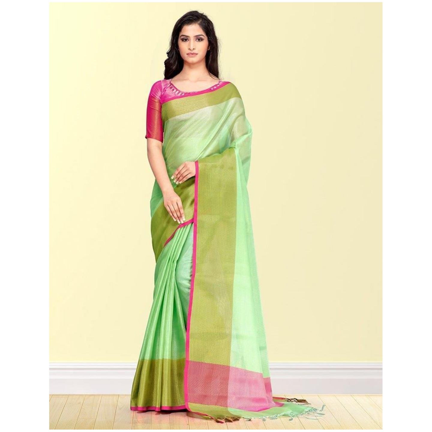 Affordable Cotton Blend Solid With Satin Border Saree