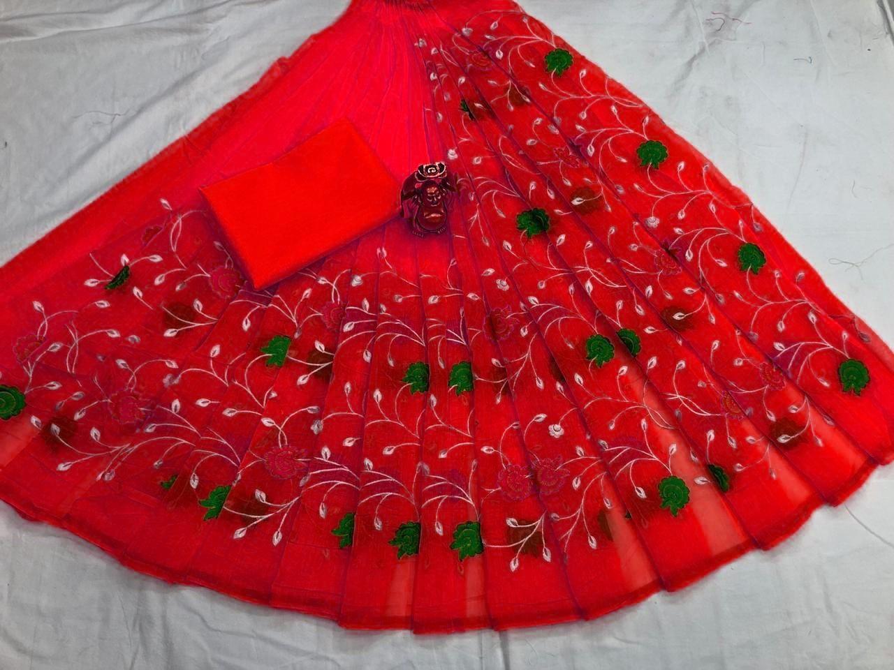 Attractive Red Chanderi Cotton Embroidered Regular Saree