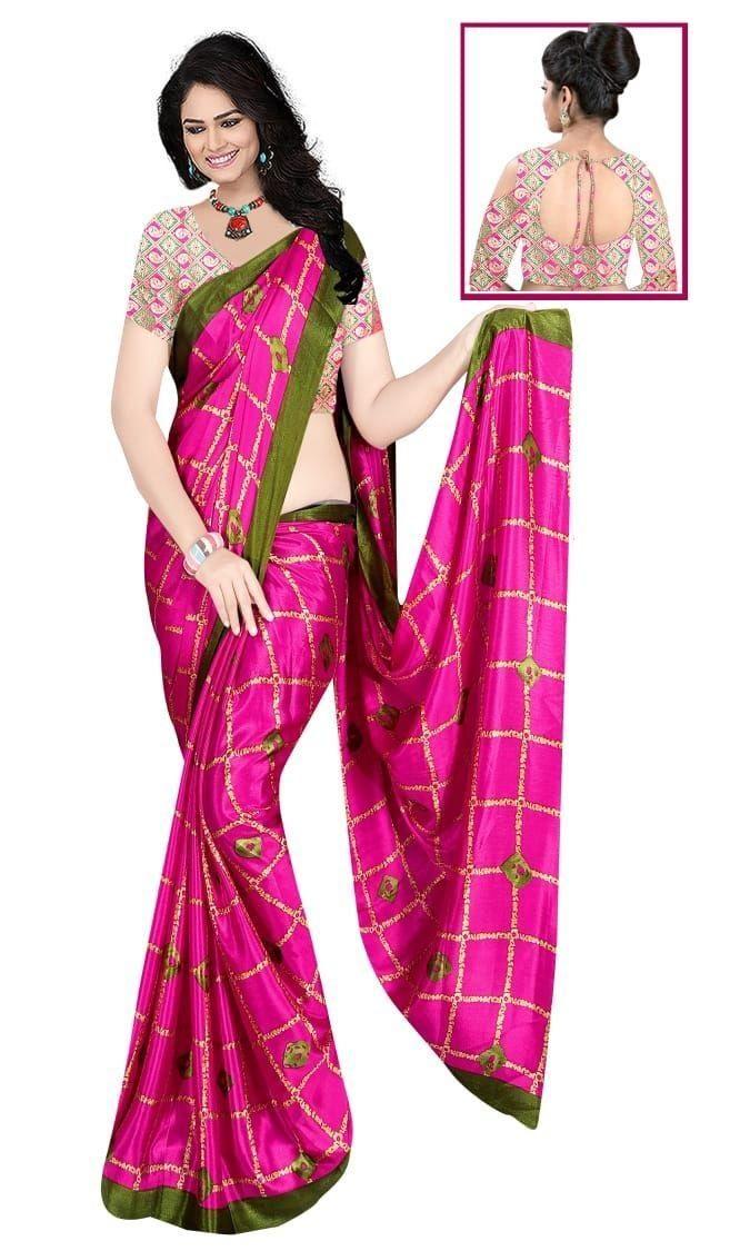 Glamorous Pink Silk Checks Print Saree