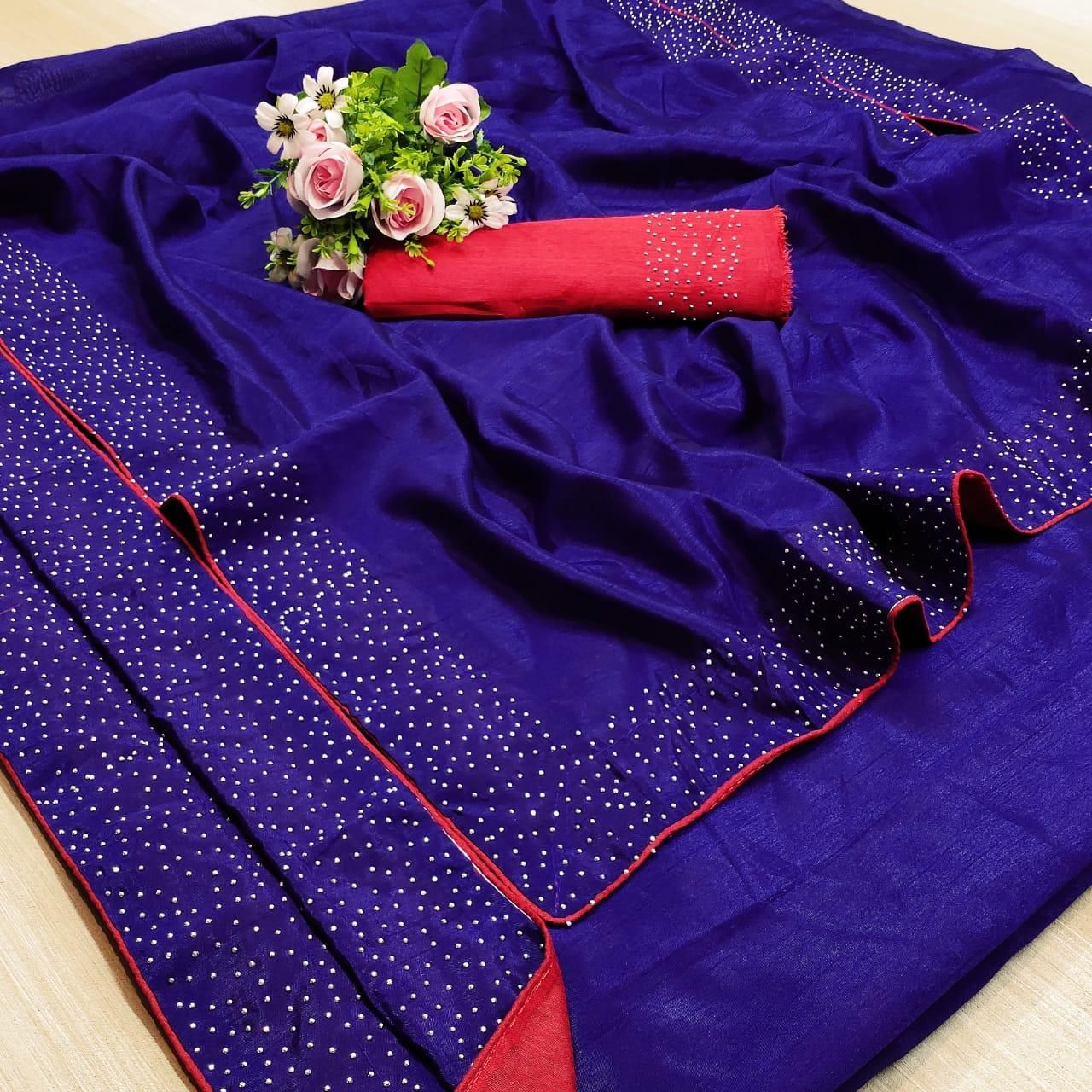 Pretty Blue Red Banglori Silk Solid With Stone Border Regular Sarees