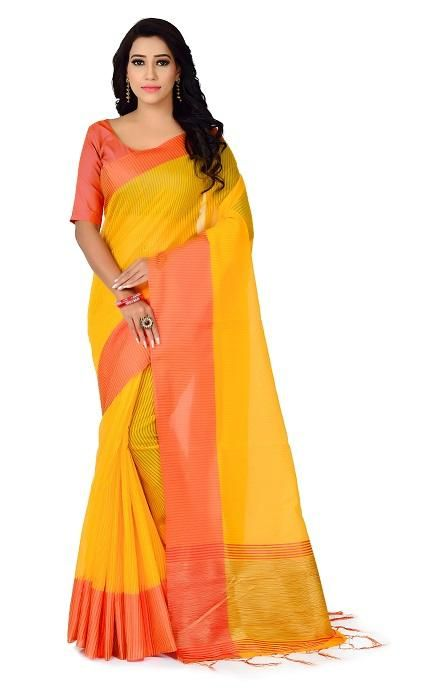 Lady's Trendy Polyester Cotton Solid With Border Regular YellowSaree