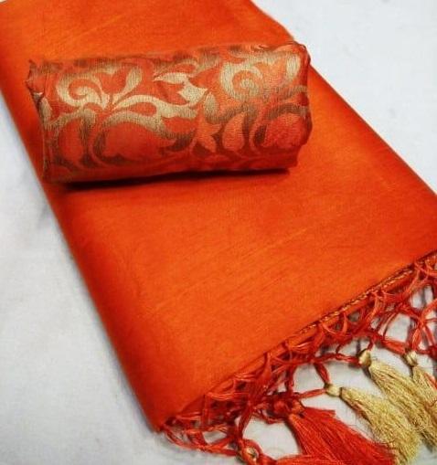 Queen's Stunning Chanderi Jhalar Solid Regular Orange Saree