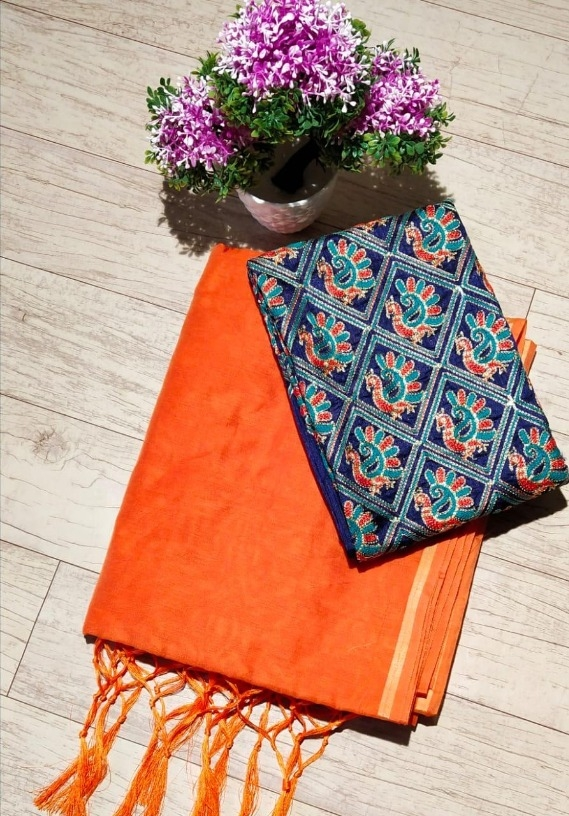Pretty Regular Chanderi Solid with Jhalar Orange Saree