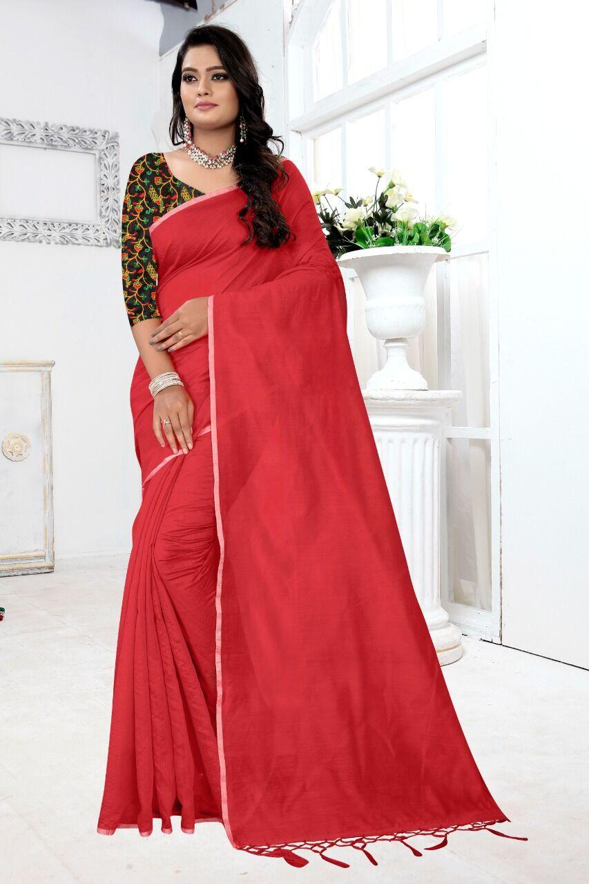 New Chanderi Cotton Solid With Jhalar Work Regular Red Saree