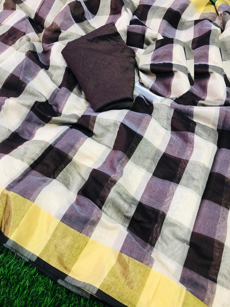 Trendy Chanderi Cotton Checks Print Regular Saree