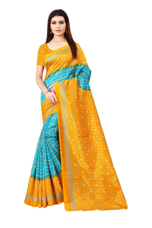 Regular Elegant Sky & Yellow Khadi Cotton Checks Print Saree