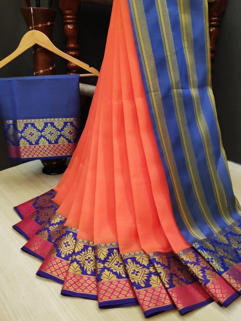 Women's Orange Cotton Solid With Zari Blue Border Regular Saree