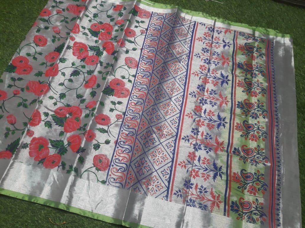 Premium Red Flower Design  Cotton Printed Regular Sare
