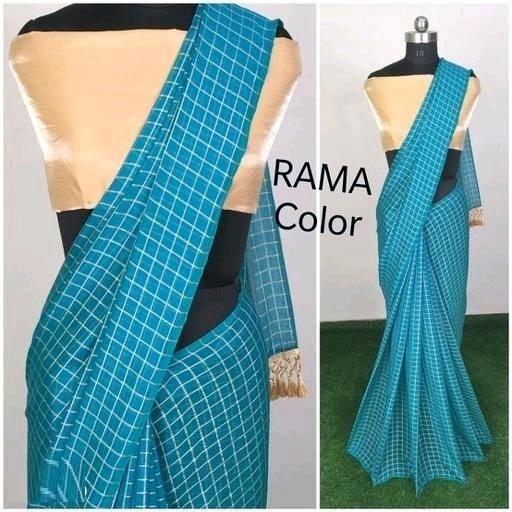 Precious Rama Chanderi Modal Checks Printed Saree