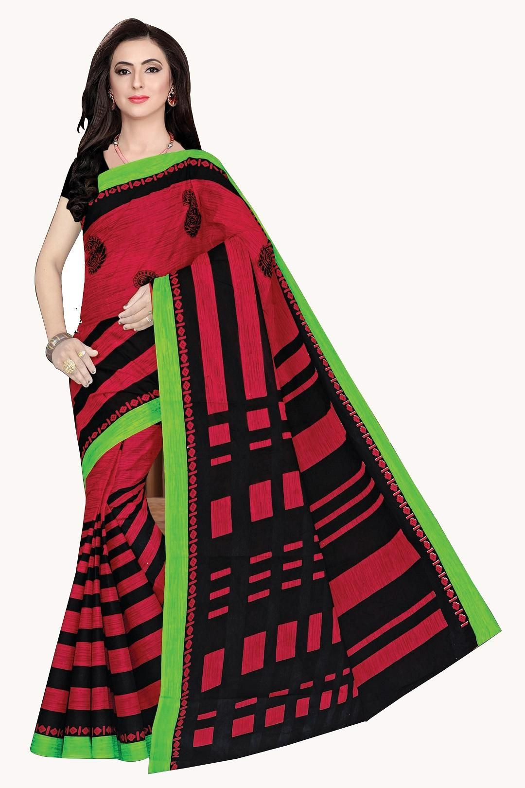 Women's Valuable Red Cotton Printed Regular Saree With Blouse Piece