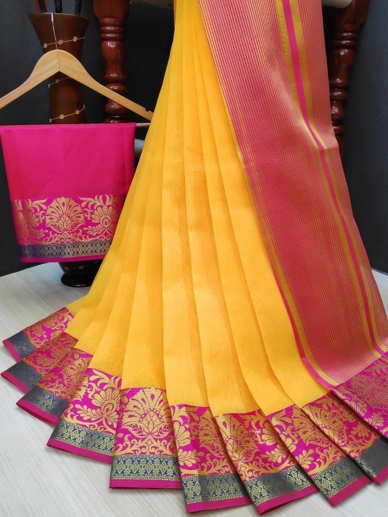 Women's Yellow Cotton Solid With Zari Border Regular Saree