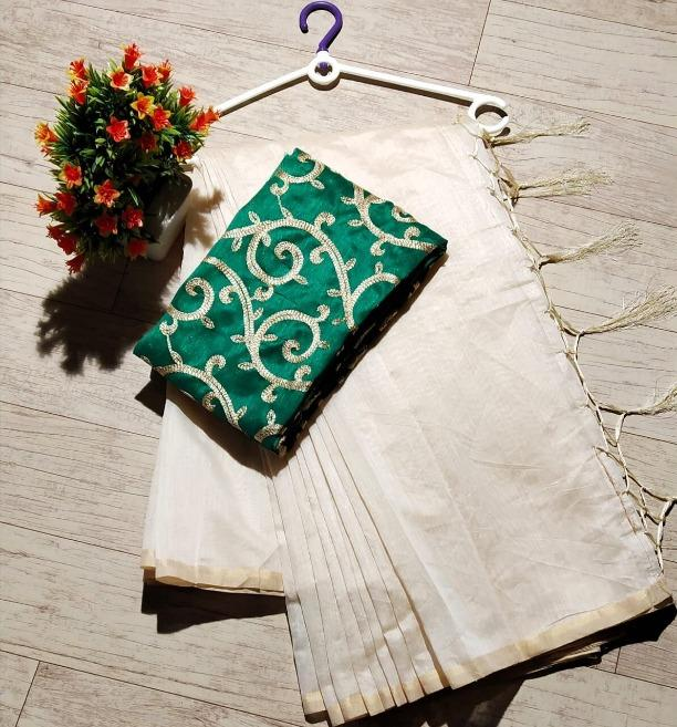 Women's Chanderi Off White Plain Regular Saree With Green Blouse Piece