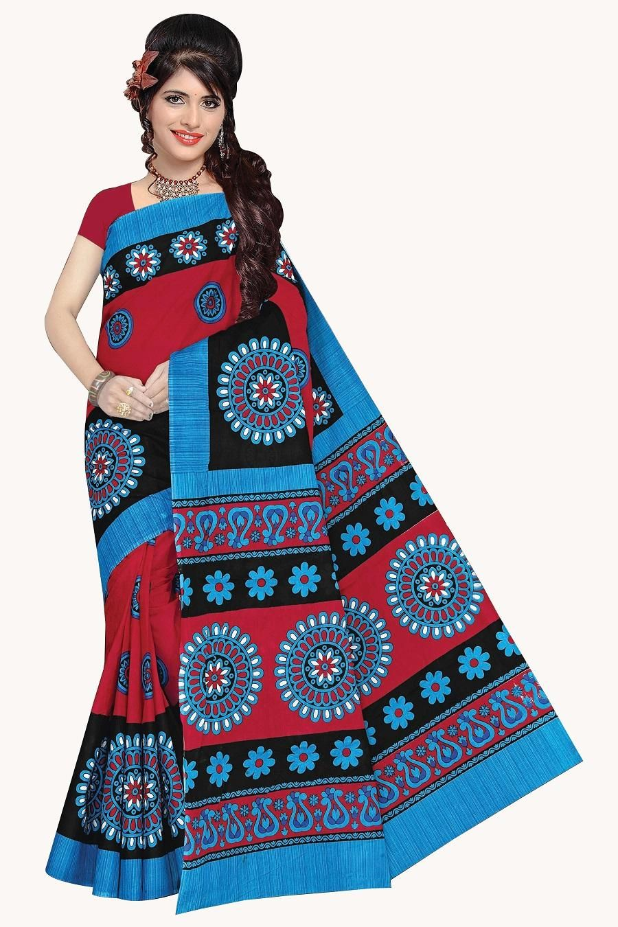 Women's Valuable Sky & Red  Cotton Printed Regular Saree With Blouse Piece
