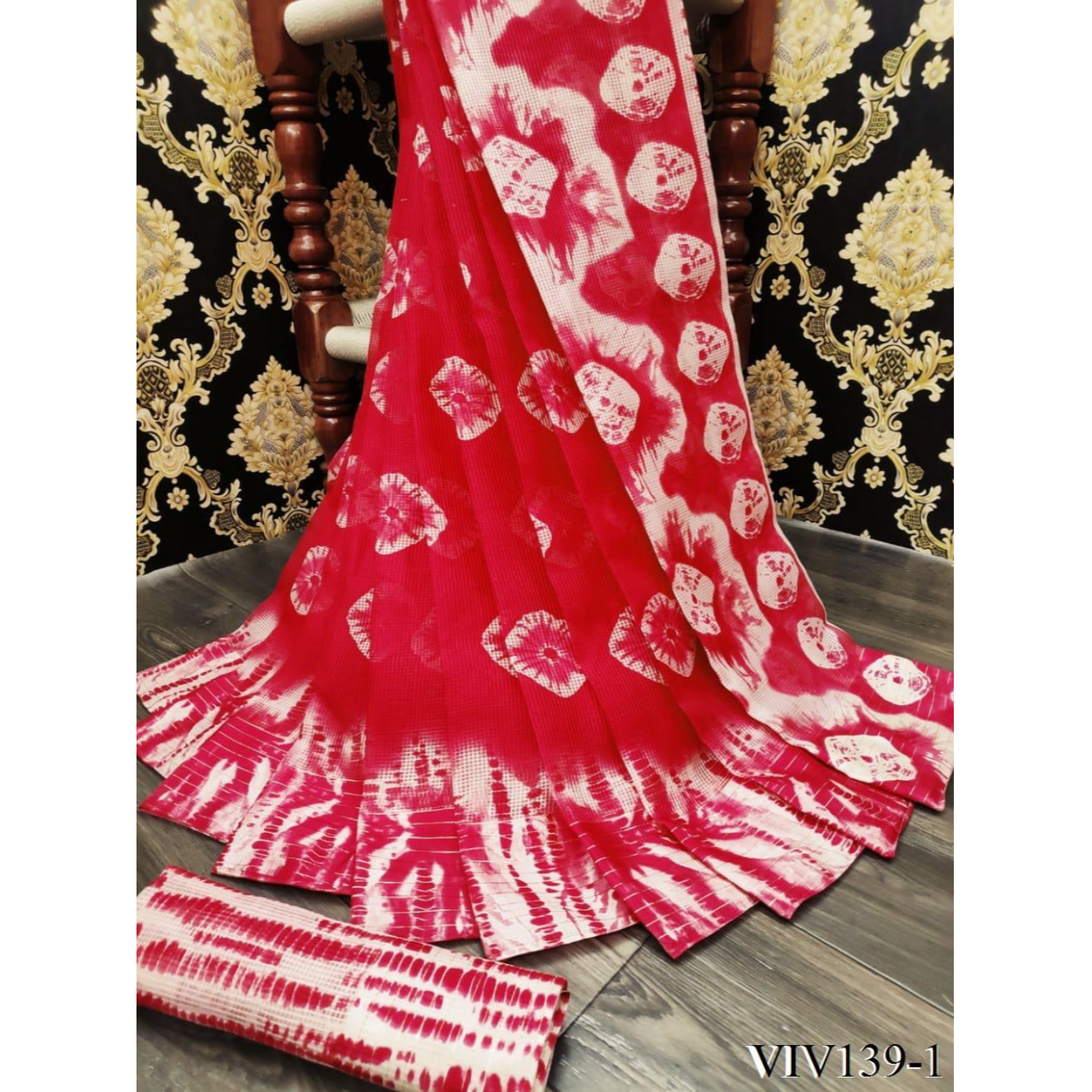 Womens soft kota fabric saree with blouse piece