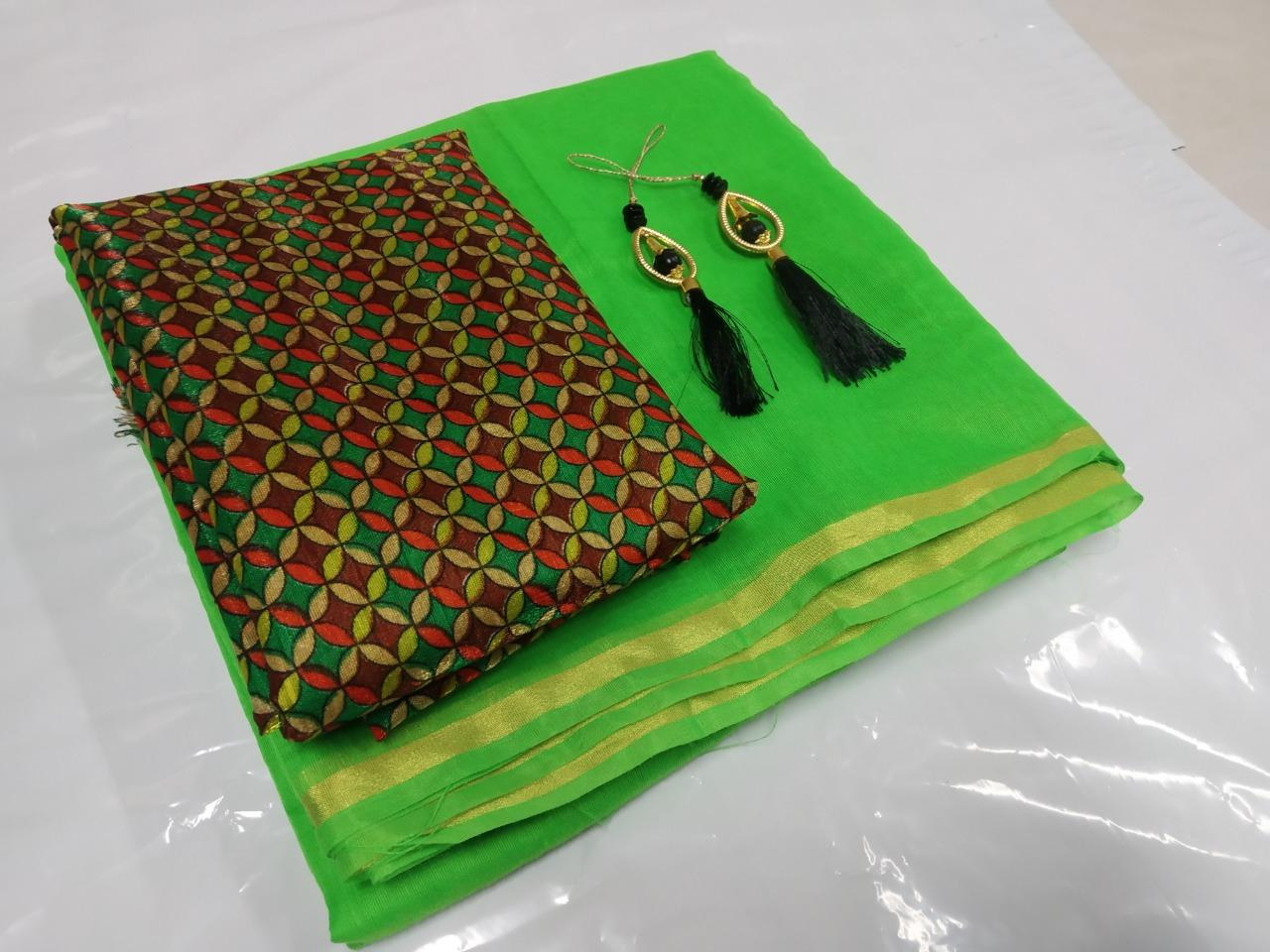 Pretty Green Cotton Solid With Lace Border Regular Saree