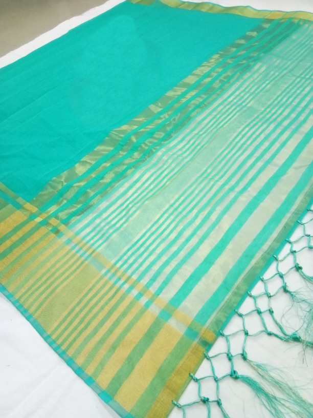 Lady Regular Pretty Sky Blue Cotton Silk Woven Saree