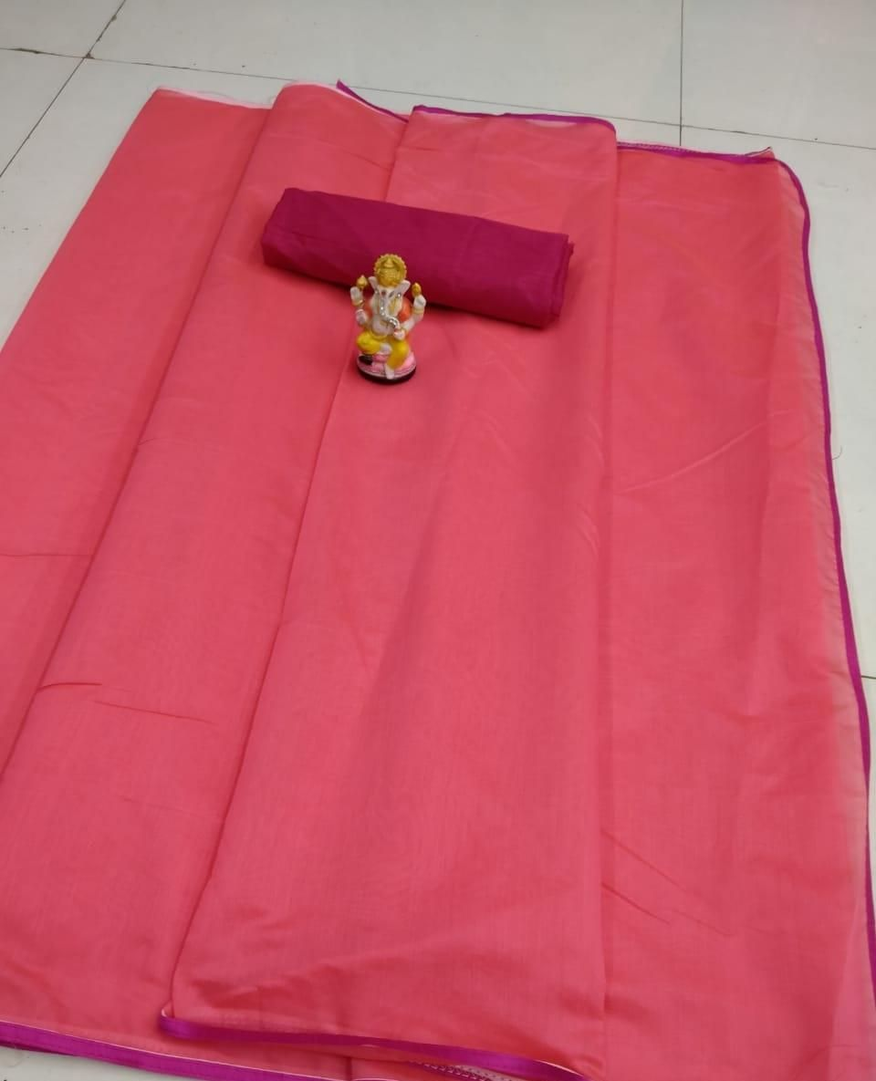 Women's Simple Modal Pink Chanderi Solid With Lace Border Saree