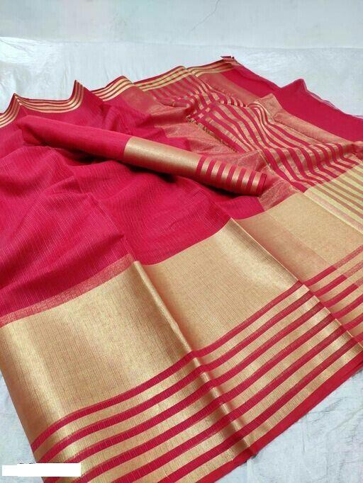 Unique Red Cotton Solid With Border Saree