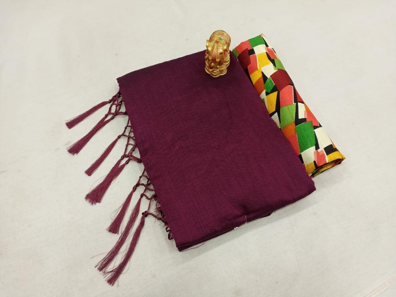 Fabulous Chanderi Cotton Solid With Jhalar Regular Parple Saree