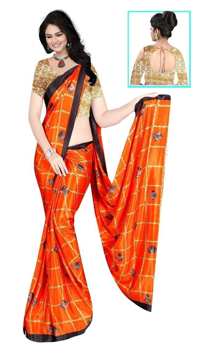 Glamorous Orange Silk Checks Print Saree