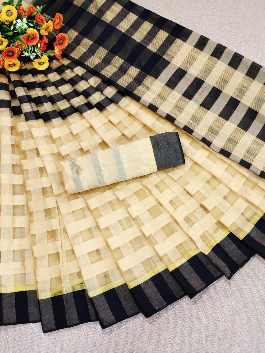 Traditional Crme Pink Cotton Silk Strips Saree