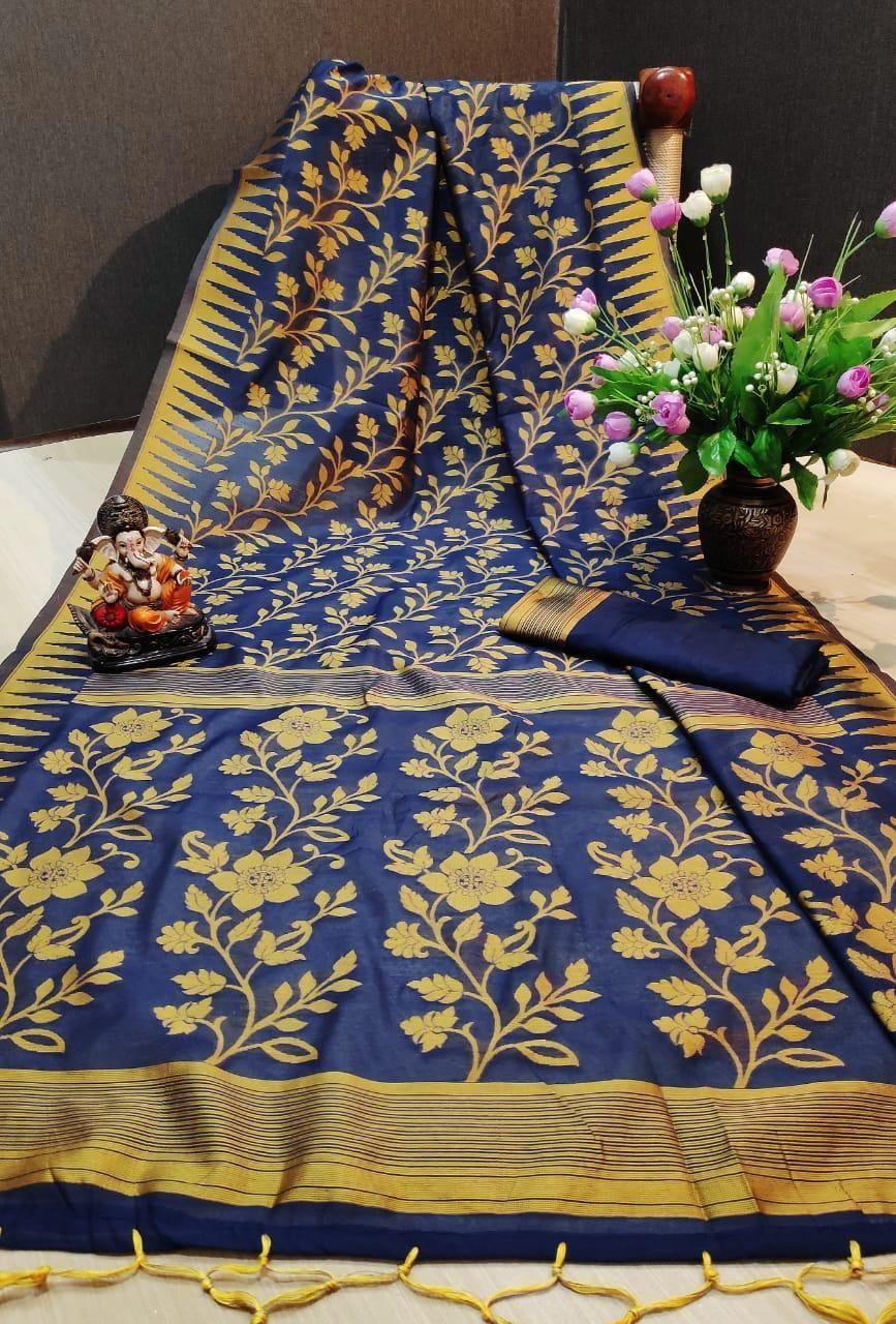 Affordable Blue & Yellow Cotton Jacquard Regular Saree