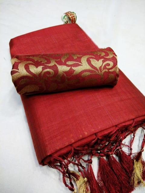 Queen's Elegant red Chanderi Cotton Solid With Jhalar Work Saree