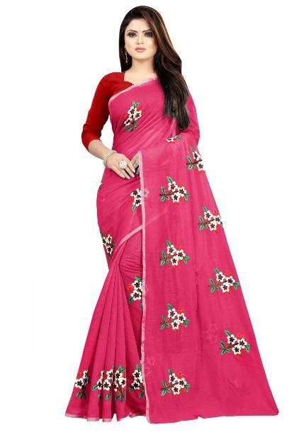 Lady's Fancy Pink Chanderi Cotton Solid With Embroidery Regular Saree