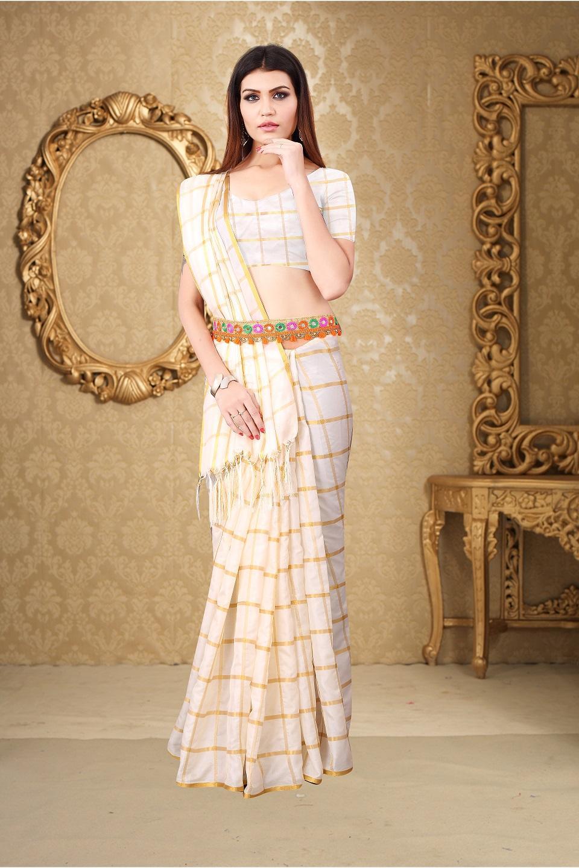 Sana Silk Checks Printed With Jhalar Regular Saree