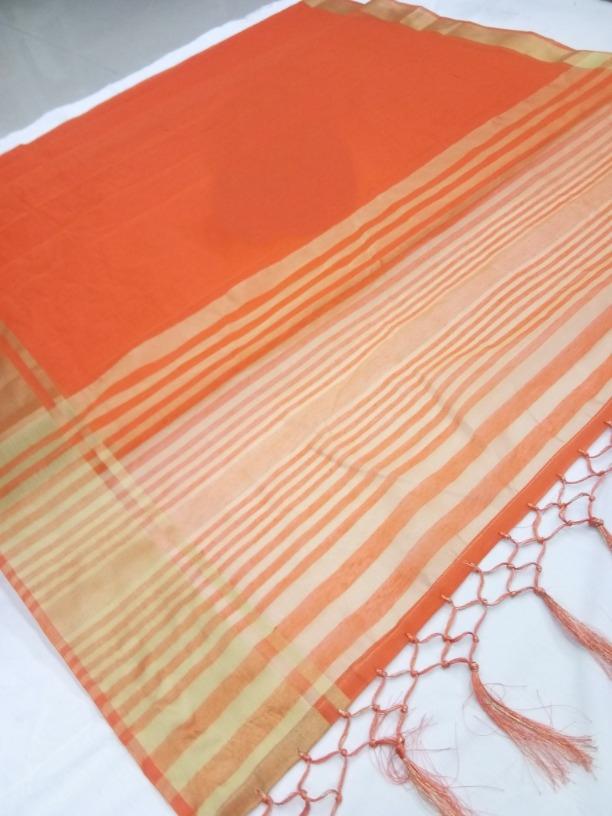 Lady Regular Pretty Orange Cotton Silk Woven Saree