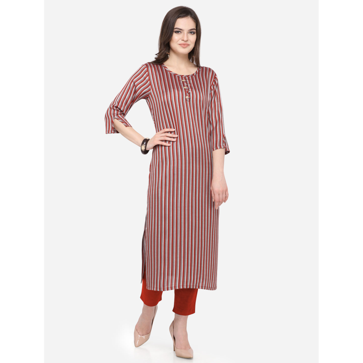 Womens South Cotton Striped Printed Kurti